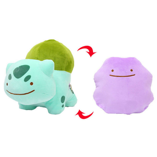 8 Styles 25-30cm Ditto Bulbasaur Charmander Squirtle Snorlax Clefairy Gengar Poliwag Inside-Out Cushion Plush Doll