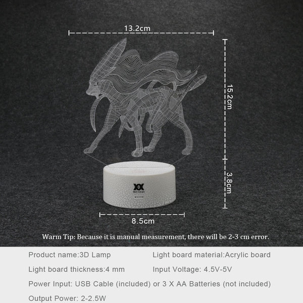 3D Lamp Mood Lamp 7 Color Light Base for New year Holiday Gift