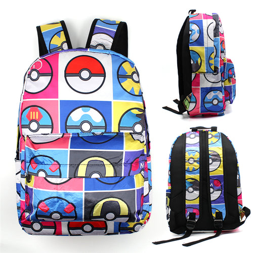 New 2018 Pokemon Backpack Poke Ball Eevee Family Schoolbags Laptop Bags