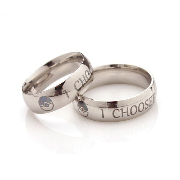 I Choose You(Pokemon Fans Ring) Stainless Steel Couple Rings Engagement His & Her Promise