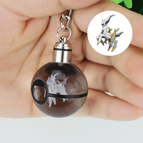 LED Keychain Engraving Round 3D Crystal Glass Pokeball