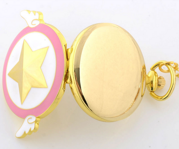 Sakura CardCaptor Golden Roman Quartz Pocket Watch Necklace