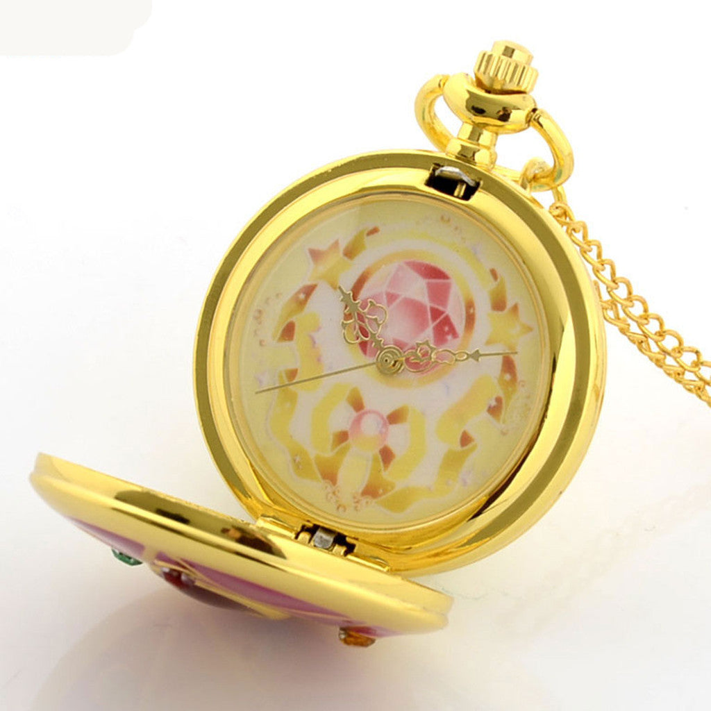 gold open plated face quartz watch woodford necklace pendant image watches