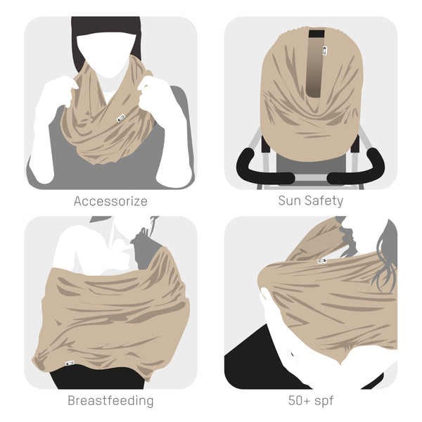 Breastfeeding Scarf multi-use garment (warm grey)