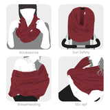 Breastfeeding Scarf multi-use garment (burgundy)