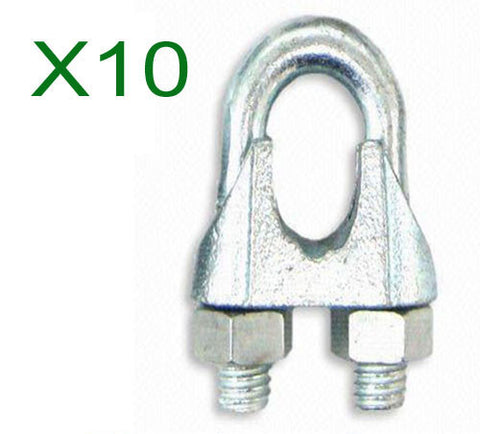10mm Galvanised Wire Rope Grips (10pcs) - Chain Care Lifting Services Ltd