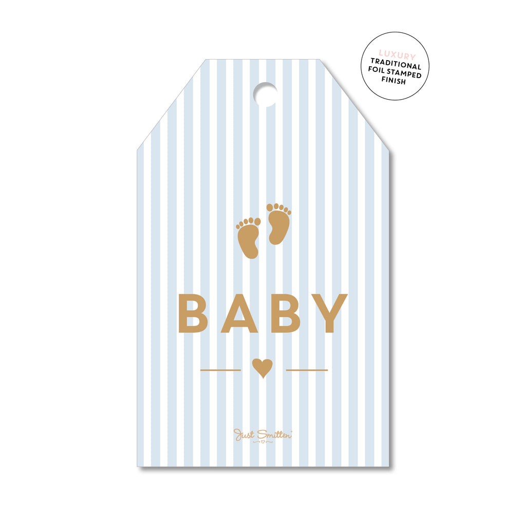 Blue Strip Gold Feet Baby Gift Card