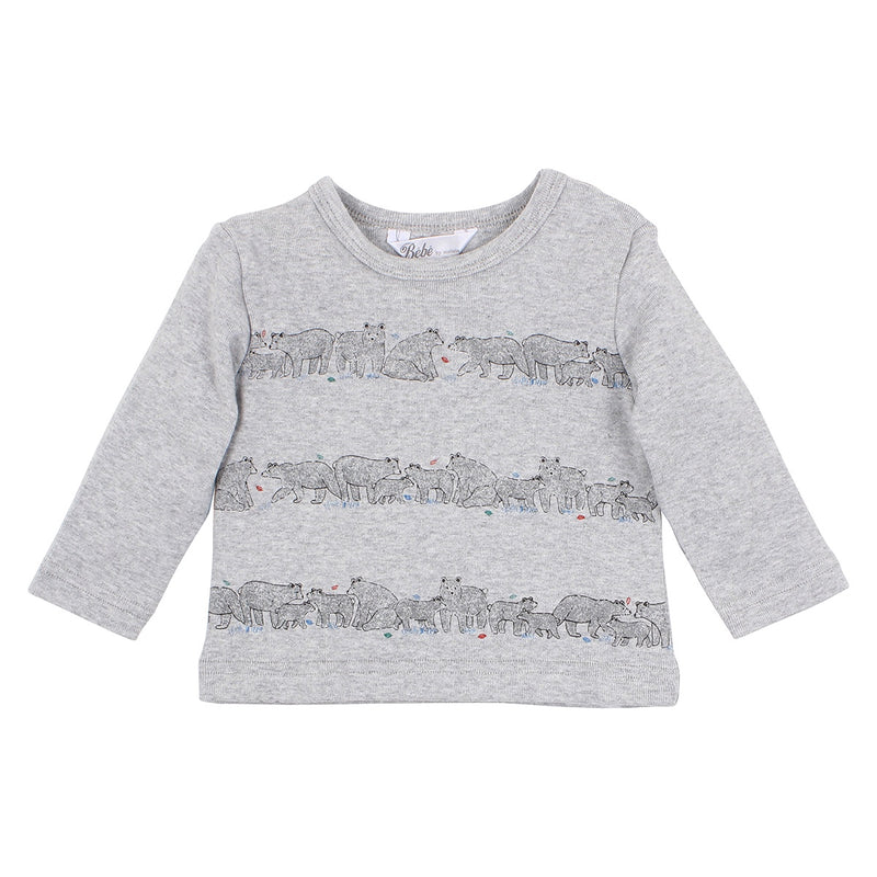 Bebe Oskar Long Sleeve Tee Grey Marle