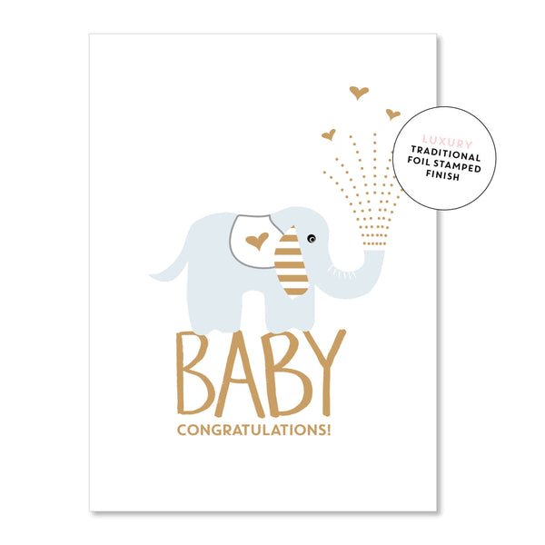 Baby Congratulations Blue Elephant Card