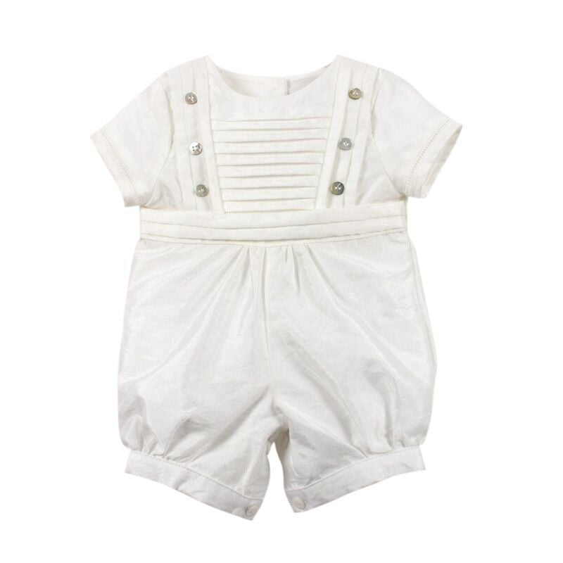 Boys Short Sleeve Taffeta Romper - Little Steps Bowral