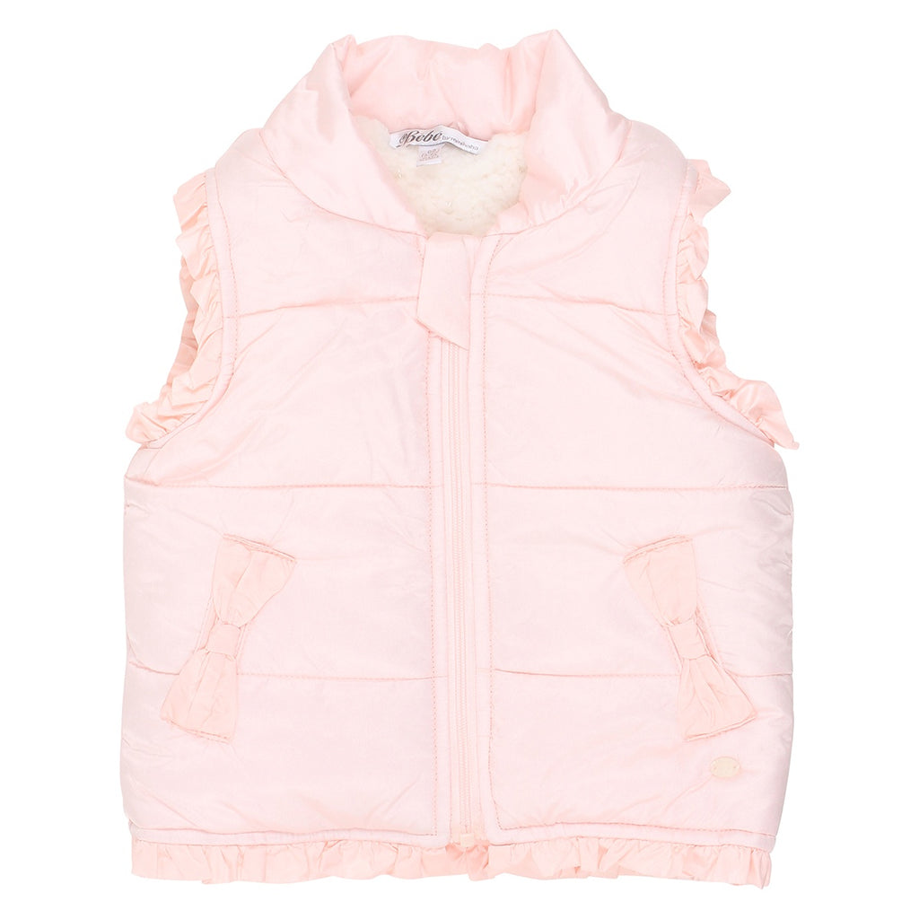 Bebe Pearl pink puffer vest at Little Steps