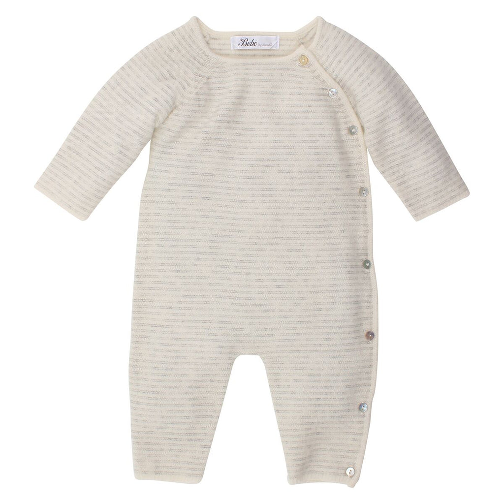 Bebe Grey Strip Cashmere Wrap Romper at Little Steps