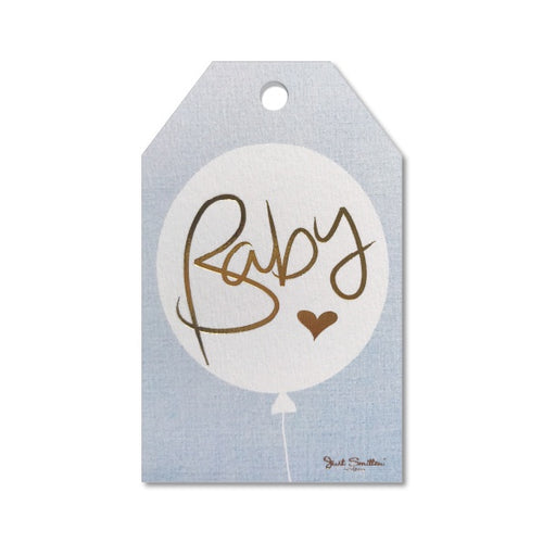 Baby Balloon Blue Gift Tag