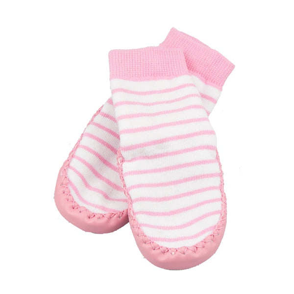 Leather & Cotton Pink Moccasin Socks