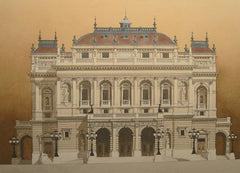Magyar Allami Operahaz, Budapest.  Limited edition giclee print by artist Andras Kaldor.  £80 at The Prints Gallery