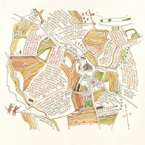 'Binham Norfolk Field Names' by Rosamond Ulph.  Giclee print from a selection of art prints at The Prints Gallery