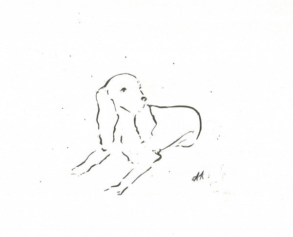Always Ready by Annabel Allison. £25 from The Prints Gallery. Simple black and white  line drawing of a dog