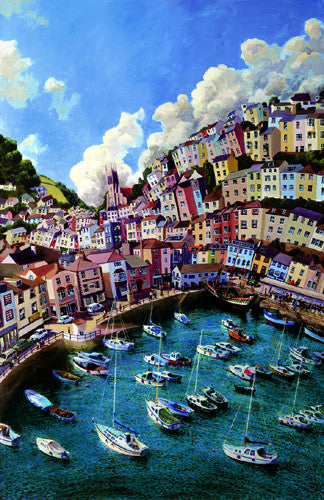 Brixham Harbour by John Gillo.  Giclee print from £27.50 at The Prints Gallery