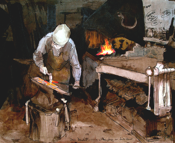 Dave Denford Blacksmith - mounted Giclee print by artist Xanthe Mosley. £45 at The Prints gallery.