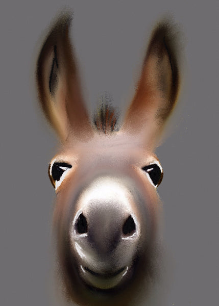 Giclee print depicting a donkey by artist Amy Buik at The Prints Gallery. £40 excluding p&p