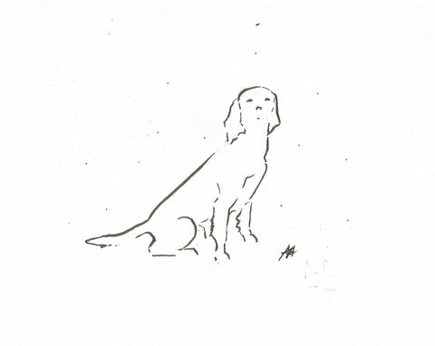 Eager to Please by Annabel Allison.  £25 at The Prints Gallery.  Simple black and white line drawing of a dog