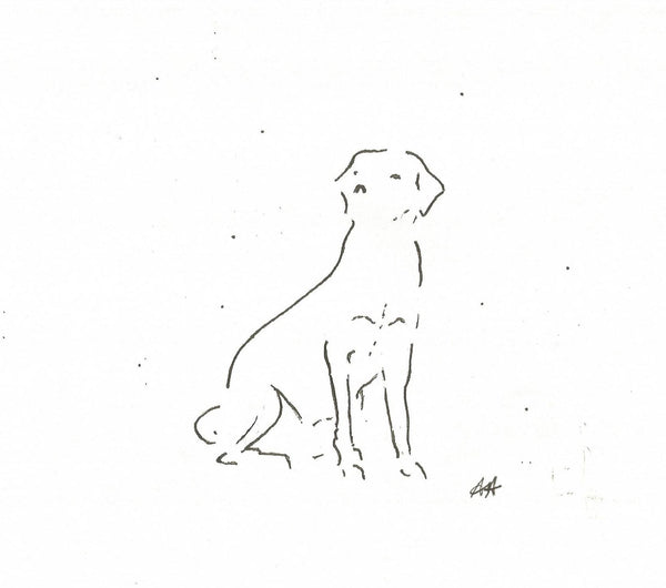 Faithful Friend by Annabel Allison.  £25 at The Prints Gallery.  Simple black and white line drawing of a dog