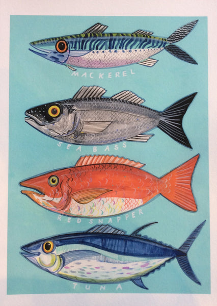 Four Fish print by Andrew Ruffhead.  £35 from The Prints Gallery.