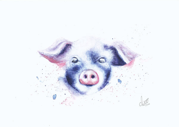 Print of a piglet by artist Charlotte Brown