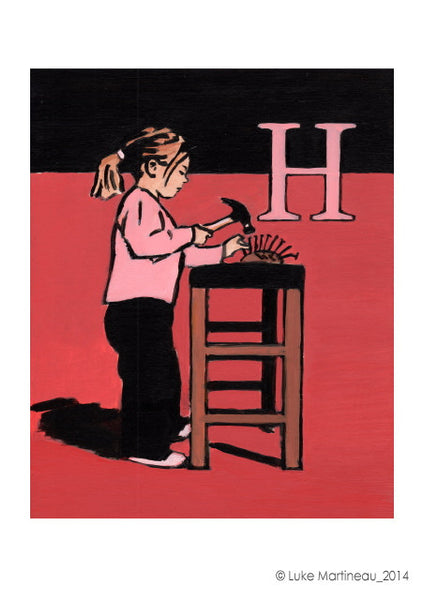 Luke Martineau Alphabet Series 'H is for Hammer' £50 at The Prints Gallery