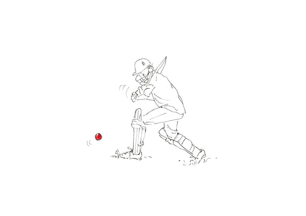 Hit for Six - pen and ink cricket illustration by Kate Spurway. One of a range of art prints from The Prints Gallery. £25 excluding P&P