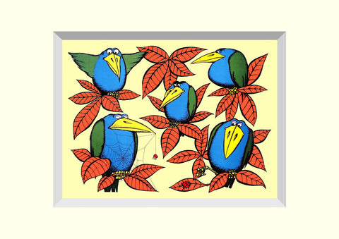 Pack of 4 Birds of a Feather 'Brilloprint' Greeting Cards