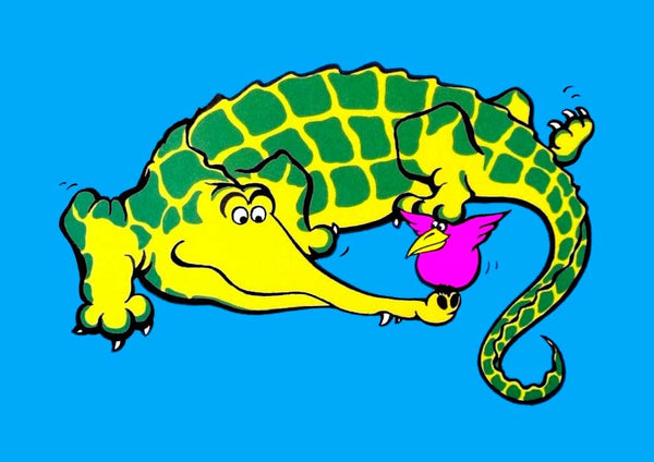 Croco-doodle.  Illustration of a crocodile from the colourful and bold Junglerumba series of illustrations for children by Anthony Veale.