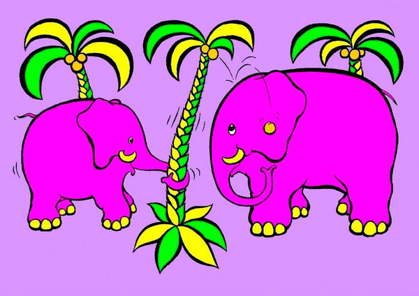 Ele-Do-It. Cartoon of pink elephants from the colourful and bold Junglerumba series of illustrations for children by Anthony Veale.