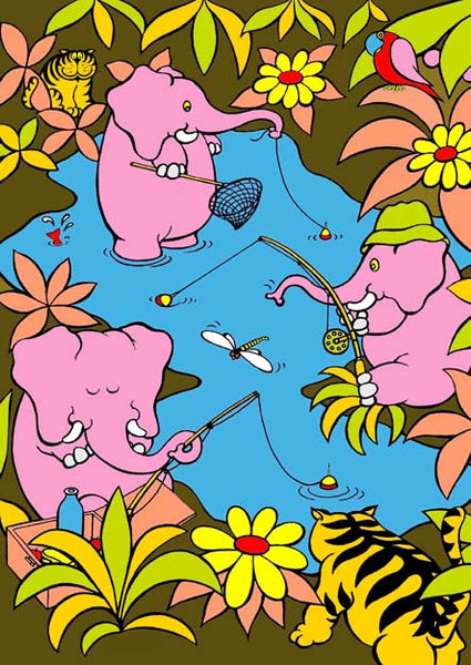 Gone Fishing from the Junglerumba series of children's illustrations by Anthony Veale. Quirky print featuring a cartoon image of three elephants fishing.