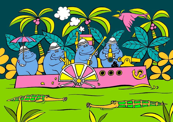 Gunboat Diplomacy featuring four hippos in a river boat. From the colourful and bold Junglerumba series of illustrations for children by Anthony Veale.