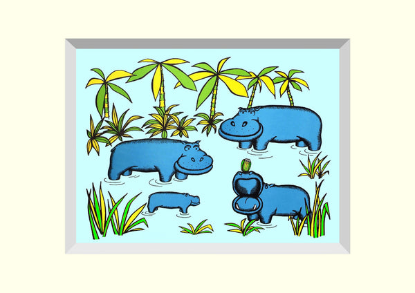 PACK OF 4 HIPPOS in EAU de NIL  'BRILLOPRINT' GREETING CARDS
