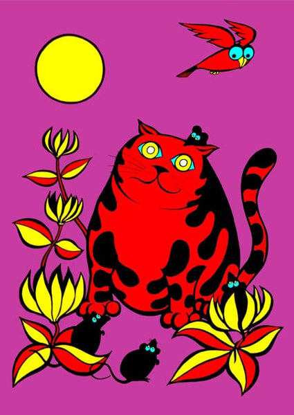 Moonstruck from the Junglerumba series of children's illustrations by Anthony Veale. Quirky & bold A3 mounted print featuring a cartoon image of a cat -  £22