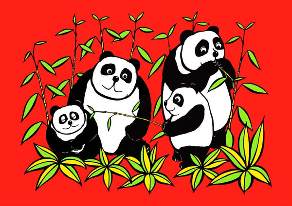 Panda Play from the Junglerumba series of children's illustrations by Anthony Veale. Quirky & bold A3 mounted print featuring a cartoon image of pandas -  £22