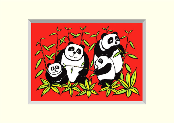 PACK OF 4 PANDAPLAY 'BRILLOPRINT' GREETING CARDS