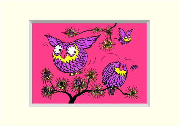 PACK OF 4 TWIT-T'WOO 'BRILLOPRINT' GREETING CARDS