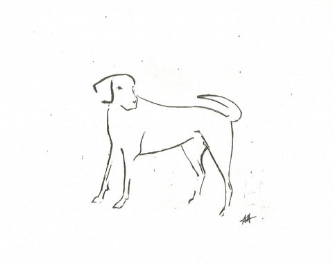Loyalty by Annabel Allison.  £25 at The Prints Gallery.  Simple black and white line drawing of a dog
