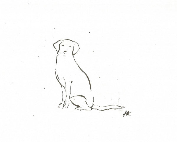 Patience by Annabel Allison.  £25 at The Prints Gallery.  Simple black and white line drawing of a dog