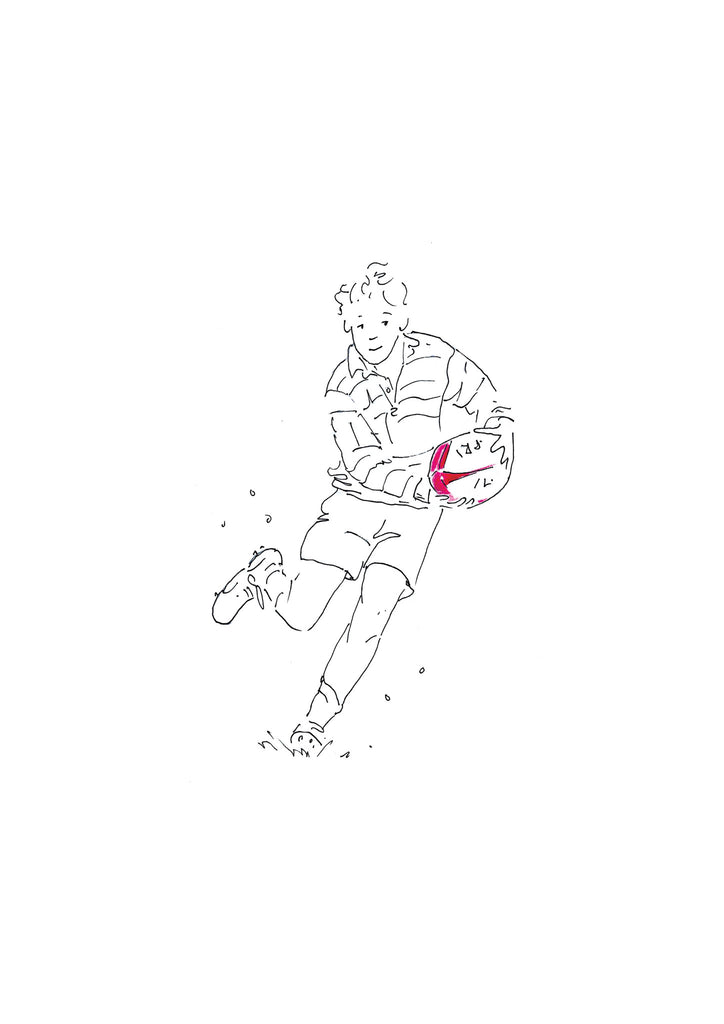 The dummy pen and ink rugby illustration by kate spurway one of a range