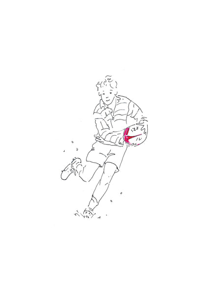 The Dummy - pen and ink rugby illustration by Kate Spurway. One of a range of art prints from The Prints Gallery. £25 excluding P&P