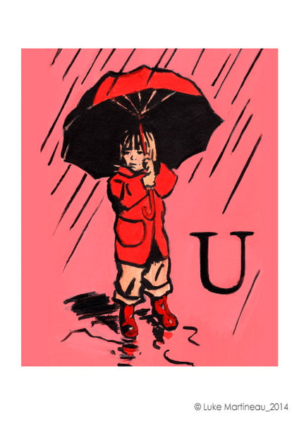 Luke Martineau Alphabet Series 'U is for Umbrella' £50 at The Prints Gallery