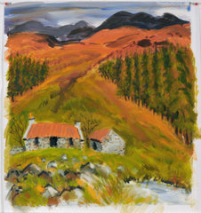 Up into the Heather.  Giclee print by artist Ian Weatherhead at The Prints Gallery