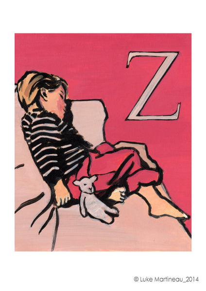 Luke Martineau Alphabet Series 'Z is for zzz' £50 at The Prints Gallery