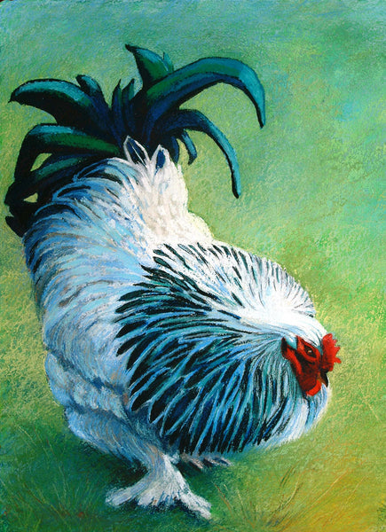 'Blue Cockerel' A3 giclee print by artist Xanthe Mosley. £45.  From a range of prints at The Prints Gallery