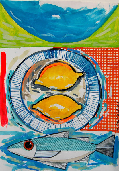Four Fish and Two Lemons print by Andrew Ruffhead.  £35 from The Prints Gallery.