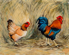 Mr and Mrs Chicken - mounted Giclee print by artist Xanthe Mosley. £45 at The Prints gallery.